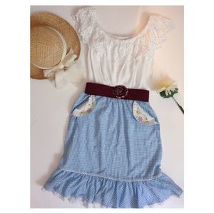 Gingham Cottagecore Prairie Skirt with Embroidery